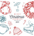 christmas and new year poster banner vector image