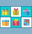 christmas present set of icons vector image vector image