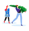christmas tree carrying couple preparing for new vector image