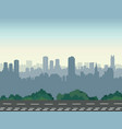 city street skyline urban landscape with road and vector image vector image