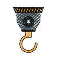 color crayon stripe cartoon industrial crane hook vector image vector image
