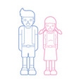 couple teen standing happy cartoon vector image