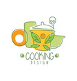 culinary hand drawn cooking logo original design vector image vector image