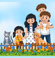 cute family outdoor scene vector image vector image