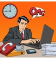 Depressed Businessman Stayed Late at Work Pop Art vector image vector image