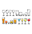 drawing drinks collection vector image