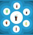 flat icon beverage set of bottle soda fizzy vector image vector image