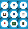 flat icon technology set of receptacle transducer vector image vector image