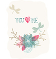 Floral Valentine background with dragonfly vector image