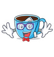 geek tea cup character cartoon vector image