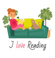 girl reading book on sofa and cat home pet vector image vector image