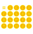golden yellow coins with currency symbols set vector image