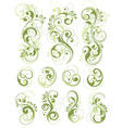 green floral designs on white vector image vector image