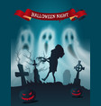 happy halloween cemetery with zombie poster vector image