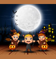 happy halloween kids with scary house and full moo vector image