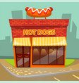 hot dogs cafe cafeteria building facade exterior vector image vector image