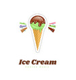 ice cream color poster menu vector image vector image