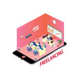 isometric design concept of freelancing community vector image vector image