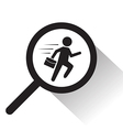 magnifying glass with running man icon vector image vector image