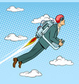 man flying jet pack pop art style vector image vector image
