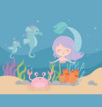 mermaid seahorses crab coral sand cartoon under vector image vector image