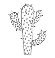 monochrome blurred silhouette of cactus of three vector image vector image