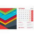 October 2016 Desk Calendar for 2016 Year vector image