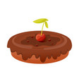 piece of pie covered cherries and chocolate vector image vector image