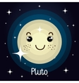 Pluto planet character space background vector image