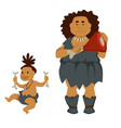 primitive woman with meat and baby holding bones vector image vector image