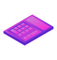 purple calculator icon isometric style vector image