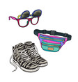 retro fashion - high sneakers sunglasses with vector image vector image