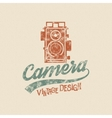 Retro poster or logo template with old camera icon vector image