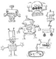 robot doodles isolated vector image vector image