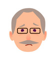 sad old man in glasses face flat icon vector image