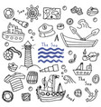 sea lighthouse ship set vector image