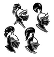 set knight helmet in engraving style design vector image vector image
