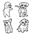 set of cartoon cute dog coloring page vector image vector image