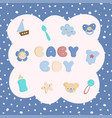 set of colorful baby boy toys with seamless vector image