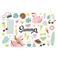 set of cute summer icons food drinks ice cream vector image