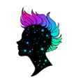 silhouette a female head with a bright mohawk vector image vector image