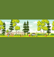 spring landscape with garden tools panorama vector image