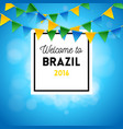square welcome to brazil background with flags vector image