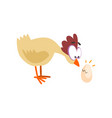 surprised funny hen looking at cracked egg comic vector image vector image