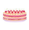 sweet birthday cake with cherries