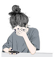 the girl is stressed while playing mobile vector image vector image