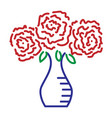 three roses in vase color sign 109 vector image vector image