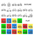 various bicycles flat icons in set collection for vector image