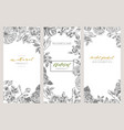 vintage floral cards set frame with engraving vector image