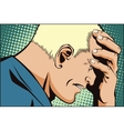 People retro style Upset man clutching his head vector image